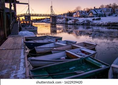 Ogunquit, Maine / United States - December 18th 2019: Winter sunrise in Perkins Cove Ogunquit, Maine.