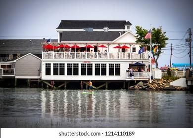 Ogunquit, Maine, USA: August 21st, 2018: The Lobster Beach House resturant along the Ogunquit River during the summer season.