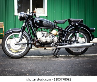 Ogunquit, Maine, USA: June 2, 2018: Motorcycle BMW R69S, 1961.  One of BMW's greatest classic motorcycle.