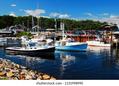 Ogunquit, ME, USA August 12, 2013 Boats are moored in the waters of Perkins Cove, near the seaside town of Ogunquit, Maine
