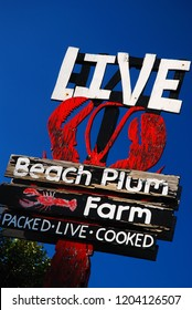 Ogunquit, ME, USA August 12, 2013 A weathered wooden sign advertises fresh lobster on the coast in Ogunquit, Maine
