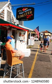 Ogunquit, ME, USA August 12, 2013 Folks enjoy a sunny summer day at a lobster shack on the in Ogunquit, Maine