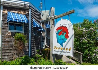 OGUNQUIT, ME, USA - MAY 21, 2017: Historic Restaurant Oarweed in Perkins Cove in Ogunquit, Maine, USA.