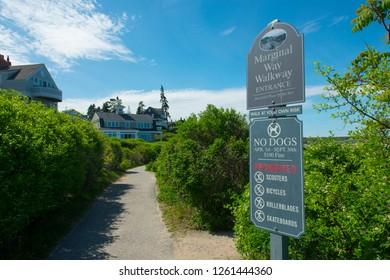 OGUNQUIT, ME, USA - MAY 21, 2017: Sign of Marginal Way entrance in Ogunquit, Maine, USA.