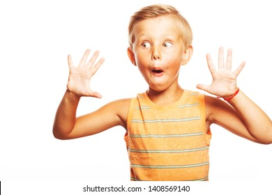 Oh, my God, Can't believe it, School Gossip concept. Portrait of shocked cute little boy in orange sleeveless T-shirt isolated on white background showing quantity of 10. Close up. Copy-space. Studio