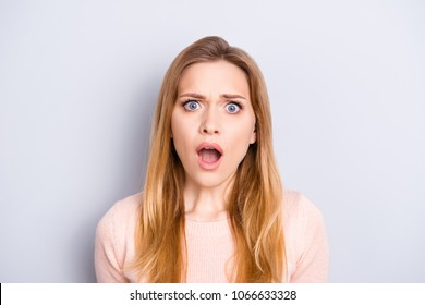 Oh no! People person insult concept. Close up portrait of frustrated confused upset terrified beautiful crying with open mouth big eyes woman isolated on gray background copy-space