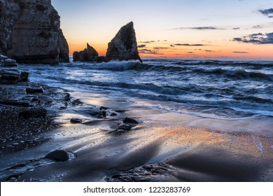 Ohaduki.Kohaduki Coast in Chiba Prefecture,Japan. Waves to beat on this coast.Dawn is beautiful