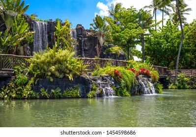 Ohahu island, Hawaii - May 1, 2019:  t The irrepressible nature of the Polynesian center in the north east area of the island