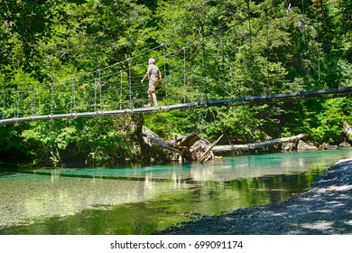 OHANAPECOSH, WASHINGTON - JUL 25, 20217 - Hiker crosses the suspension bridge leading to the Grove of the patriarchs, Ohanapecosh, Mount Rainier National Park, Washington