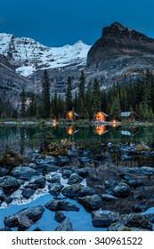O'Hara Lake Lodge at twilight in Yoho National Park, British Columbia, Canada