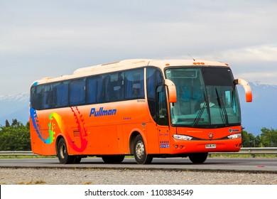 O'Higgins, Chile - November 19, 2015: Coach bus Marcopolo Viaggio 1050 at the interurban freeway.