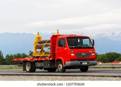 O'Higgins, Chile - November 19, 2015: Flatbed truck Volkswagen 9-150 at the interurban freeway.