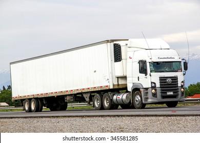 O'HIGGINS, CHILE - NOVEMBER 19, 2015: Semi-trailer truck Volkswagen Constellation at the Pan-American Highway.