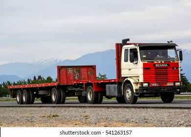 O'HIGGINS, CHILE - NOVEMBER 19, 2015: Trailer truck Scania R at the interurban freeway.