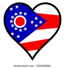 Ohio flag within a heart all over a white background