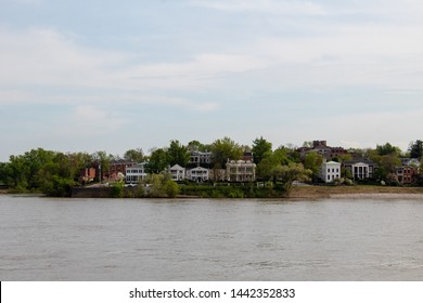 The Ohio river overlooking the historic Newport, Kentucky. Cityscape.