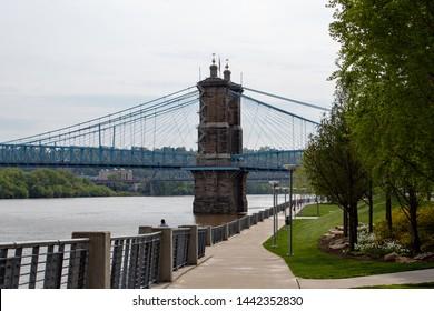 Ohio River Trail Overlooking the Roebling  Suspension Bridge in Cincinnati Ohio.