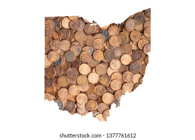 Ohio State Map and Money Concept, Piles of Coins, Pennies