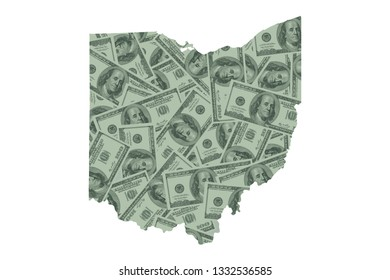 Ohio State Map and Money, Hundred Dollar Bills