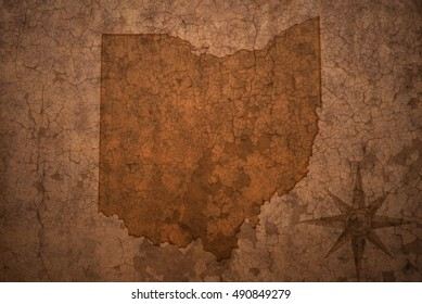 ohio state map on a old vintage crack paper background