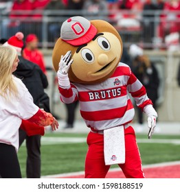Ohio State Mascot Brutus - NCAA Division 1 Football University of Maryland Terrapins  Vs. Ohio State Buckeyes on November 11th 2019 at the Ohio State Stadium in Columbus, Ohio USA