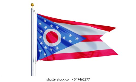 Ohio (U.S. state) flag waving on white background, close up, isolated with clipping path mask alpha channel transparency, perfect for film, news, composition