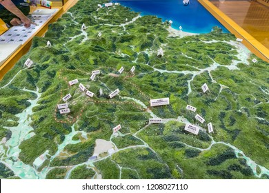 OHMORI, JAPAN - AUGUST 29, 2018: A display at the Iwami Ginzan World Heritage Center museum shows all of the area's mines, refineries, fortifications, trails, and ports in English and Japanese