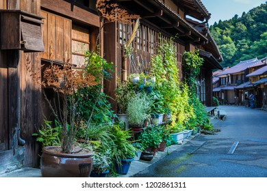 OHMORI, SHIMANE, JAPAN - AUGUST 29, 2018: A house with a lush green exterior adds beauty to the historic buildngs in the residential area of Iwami Silver Mine; World Heritage Site