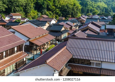 OHMORI, SHIMANE, JAPAN - AUGUST 29, 2018: The village of Ohmori is the main residential area of the Iwami Silver Mine, and has historic buildings, cafes, and museums; it's now a World Heritage Site