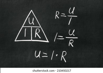 Ohm's Law triangle drawn on a blackboard with chalk