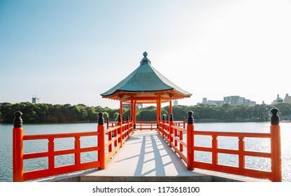 Ohori park, lake and gazebo in Fukuoka, Japan