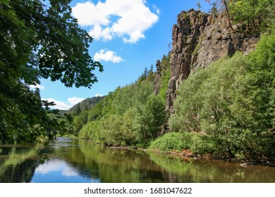 Ohre river created deep canyon - Svatosske skaly (Jan Svatos cliffs), it is a national nature monument near Karlovy Vary, Czech republic. - Shutterstock ID 1681047622