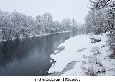 Ohre river in the winter. Czech Republic.