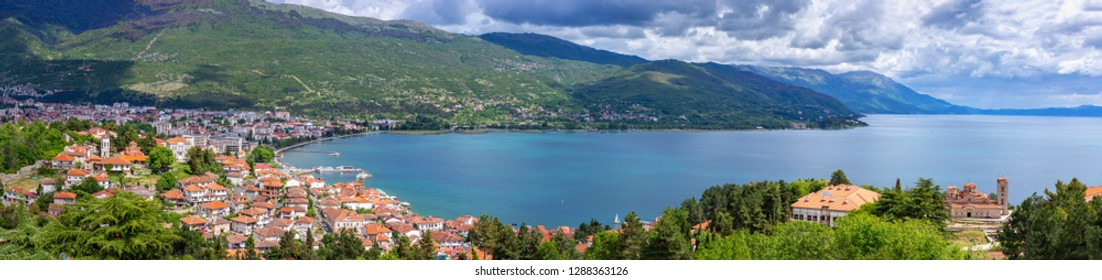 Ohrid lake and city landscape. View from Samuel fortress to old city and Plaosnik.