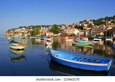 Ohrid lake. Fishing boats with the view of an old town of Ohrid in the background.