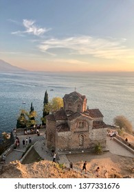OHRID, MACEDONIA - 22 September, 2018: Church of St. John at Kaneo -  a Macedonian Orthodox church situated on the cliff over Kaneo Beach overlooking Lake Ohrid.
