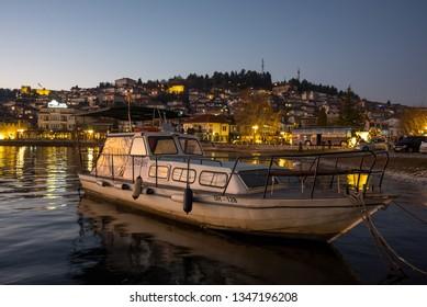 Ohrid, Macedonia - 24 December 2017 : Dusk Boat At Lake Ohrid Macedonia