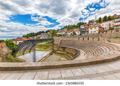 Ohrid - Macedonia. Antique ancient greek amphitheater or antique theatre of Ohrid with view on old town of Ohrid and Lake Ohrid in Macedonia