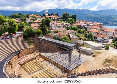 Ohrid - Macedonia. The antique ancient greek amphitheater or antique theatre of Ohrid with view on old town of Ohrid and Lake Ohrid in Macedonia.
