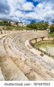 Ohrid - Macedonia. The antique ancient greek amphitheater or antique theatre of Ohrid with view on old town of Ohrid and Lake Ohrid in Macedonia, vertical
