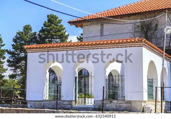 Ohrid, Macedonia - April 7, 2017: Exterior view of Sinan Celebi Memorial Tomb near St. Panteleimon in Ohrid, Macedonia.