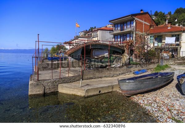 Ohrid, Macedonia - April 8, 2017: Coastal view of Ohrid, a small city by the Lake Ohrid in southwest of FYR Macedonia.