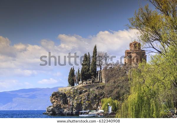 Ohrid, Macedonia - April 8, 2017: Cliff-top church of Saint Joan at Kaneo or St. Jovan Kaneo over Ohrid Lake, Macedonia.