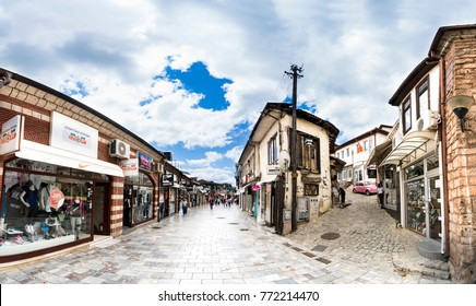 Ohrid, Macedonia - circa Jun, 2017: People walking on the the historical center of Ohrid town. Ohrid - is the most famous tourist destination in Macedoni