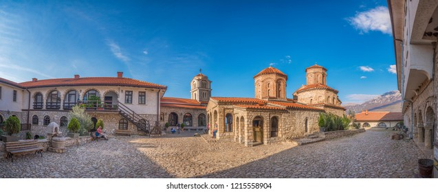 Ohrid, Macedonia (FYROM) - 16 October, 2018: Panorama view of The 10th Century Eastern Orthodox monastery church of St. Naum situated along Lake Ohrid, south of the city of Ohrid. Top sightseeing