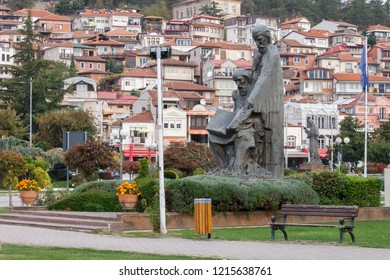 Ohrid, Macedonia (FYROM) - October 15, 2018: View of the city of Ohrid and the statue of Saints Cyril and Methodius