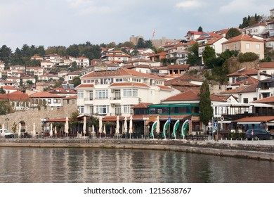 Ohrid, Macedonia (FYROM) - October 15, 2018: View of the city of Ohrid from the new port