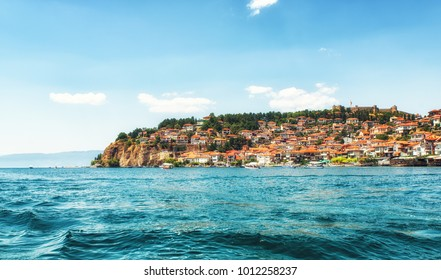 Ohrid, Macedonia - July 23, 2017: Coastal view of Ohrid, a small city by the Lake Ohrid in southwest of FYR Macedonia.