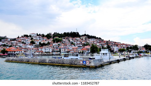 OHRID, MACEDONIA. JULY 27, 2018- View of a Lake Ohrid and city of Ohrid in Macedonia in the end of july