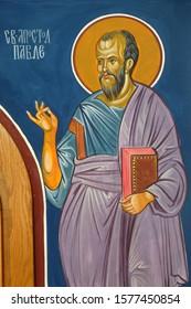 OHRID, MACEDONIA - MAY 04, 2019: Saint Paul the Apostle, fresco in the Church of Saint Paraskeva of the Balkans near Saint Naum Monastery, Ohrid in Macedonia